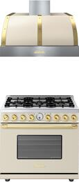 2-Piece Cream Matte with Gold Accent Kitchen Package with RD361SCCG 36