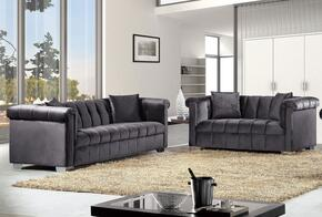 Kayla Collection 6152PCSTLKIT2 2-Piece Living Room Sets with Stationary Sofa, and Loveseat in Grey