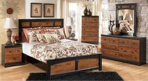 Tucker Collection Twin Bedroom Set with Panel Bed, Dresser, Mirror and Nightstand in Two Tone Brown