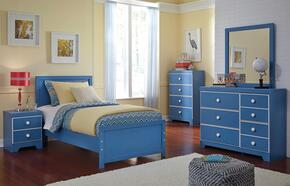 Bronilly Twin Bedroom Set with Panel Bed, Dresser, Mirror, Night Stand and Chest in Blue