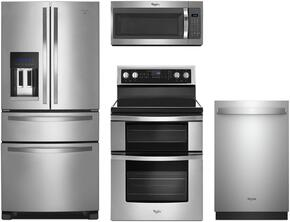 "4-Piece Stainless Steel Kitchen Package with WRX735SDBM 36"" French Door Refrigerator, WGE745C0FS 30"" Freestanding Electric Range, WMH31017FS 30"" Over the Range Microwave, and WDT970SAHZ 24"" Fully Integrated Dishwasher"