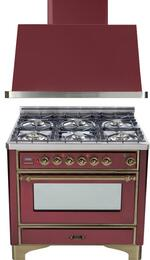 "2-Piece Burgundy Kitchen Package with UM906DMPRBY 36"" Freestanding Dual Fuel Range (Oiled Bronze Trim, 6 Burners, Timer) and UAM90RB 36"" Wall Mount Range Hood"