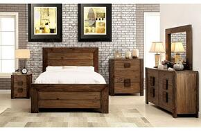 Aviero Collection CM7627KBDMCN 5-Piece Bedroom Set with King Bed, Dresser, Mirror, Chest and Nightstand in Rustic Natural Tone Finish