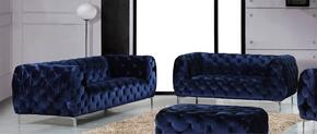 Mercer Collection 646-NAVY-S-L 2 Piece Living Room Set with Sofa and Loveseat in Navy