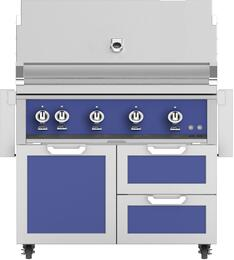 "42"" Freestanding Natural Gas Grill with GCR42BU Tower Grill Cart with Double Drawer and Door Combo, in Prince Blue"