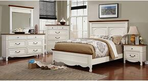 Johara Collection CM7040CKBDMCN 5-Piece Bedroom Set with California King Bed, Dresser, Mirror, Chest and Nightstand in White and Oak Finish