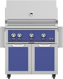 """36"""" Freestanding Liquid Propane Grill with GCD36BU Tower Grill Cart with Double Doors, in Prince Blue"""