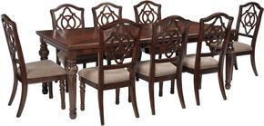Asha Collection 9-Piece Dining Room Set with Dining Room Table and 8 Side Chairs in Reddish Brown