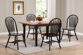 Sunset Selections Collection DLU-TLB3660-820-AB5PC 5 Piece Butterfly Leaf Dining Table Set with Rectangular Table + 4 Arrowback Chairs