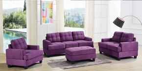 G517ASET 3 PC Living Room Set with Sofa + Loveseat + Armchair in Purple Color