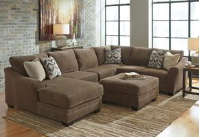 Audrina Collection MI-3939SECOTL-TEAK 2-Piece Living Room Set with Left Chaise Sectional Sofa and Ottoman in Teak Brown