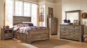 Trinell Full Bedroom Set with Panel Bed with Drawers, Dresser, Mirror and Nightstand in Brown