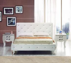 VGJYMONTECARLO-WHT-CQN Modrest Monte Carlo Queen Size Bed + 2 Nightstands in White