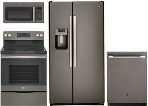 "4-Piece Slate Kitchen Package with GSS25GMHES 36"" Side by Side Refrigerator, JB645EKES 30"" Freestanding Electric Range,  JVM3160EFES 30"" Over the Range Microwave, and GDF610PMJES 24"" Full Console Dishwasher"