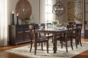 Gerlane Collection 8-Piece Dining Room Set with Dining Table, 6 Side Chairs and Server in Dark Brown
