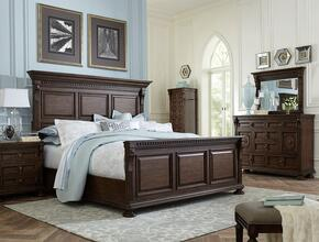 Lyla 4912QPBNLCDMS 6-Piece Bedroom Set with Queen Panel Bed, 3-Drawer Nightstand, Lingerie Chest, Door Dresser, 44