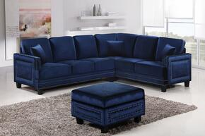 Ferrara 655NAVY-SS-O 2 Piece Living Room Set includes Sectional Sofa + Ottoman with Velvet Upholstery in Navy