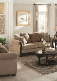 "Beasley Collection 505241 85"" Traditional Sofa and Love Seat in Brown Fabric Upholstery"