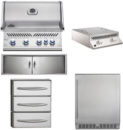 """5-Piece Stainless Steel Outdoor Kitchen Package with BIPRO500RBNSS2 31"""" Natural Gas Grill, BISZ300NFT 20"""" Side Burner, NFR055ORSS 35"""" Outdoor Refrigerator, N3700358SS1 Double Access Door, and N3700360 18"""" Storage Drawer"""
