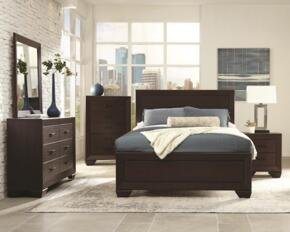 Fenbrook Collection 204391Q Transitional Queen Bed, Night stand, Dresser and Mirror in Dark Cocoa Finish