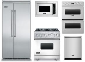 "5-Piece Stainless Steel Kitchen Package with VCSB5483SS 48"" Side by Side Refrigerator, VGIC53616BSS 36"" Gas Range, VEDO1302SS 30"" Electric Double Wall Oven, VMOC206SS 24"" Microwave w. 30"" Trim Kit, and FDW302WS 24"" Dishwasher"