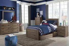 Javarin Twin Bedroom Set with Storage Bed, Dresser, Mirror, Nightstand and Chest in Greyish Brown