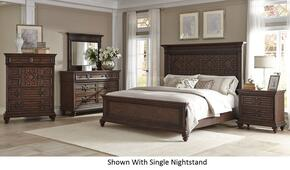 Palencia 799KPBDM2NC 6-Piece Bedroom Set with King Panel Bed, Dresser, Mirror, 2 Nightstands and Chest in Rustic Oak