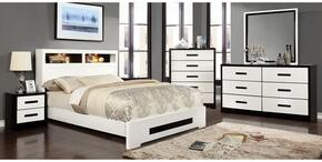 Rutger Collection CM7297CKBDMCN 5-Piece Bedroom Set with California King Bed, Dresser, Mirror, Chest and Nightstand in White Finish