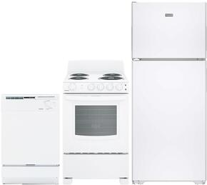 "3-Piece White Kitchen Package with HPS15BTHLWW 28"" Top Freezer Refrigerator, RA724KWH 24"" Freestanding Electric Range, and HDA2100HWW 24"" Full Console Dishwasher"