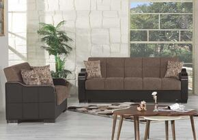 Uptown Collection UCSBBNF Package Containing Sofa Bed and Convertible Love Seat with Matching Pillows, Storage Under the Seat, Curved Wood-like Arms, Polished Metal Accents and Tufted Detailing Upholstered in Brown Fabric