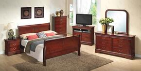 G3100AKBSET 6 PC Bedroom Set with King Size Sleigh Bed + Dresser + Mirror + Chest + Nightstand + Media Chest in Cherry Finish