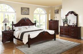 21860Q5PCSET Gwyneth Queen Size Bed + Dresser + Mirror + Chest + Nightstand in Cherry Finish