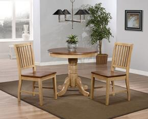 Brook Collection DLU-BR3636-C60-PW3PC 3 PC Dining Room Set with Dining Table + 2 Slat Back Stools