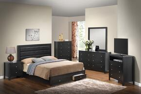 G2400 Collection G2450CFSBSET 6 PC Bedroom Set with Full Size Storage Bed + Dresser + Mirror + Chest + Nightstand + Media Chest in Black Finish