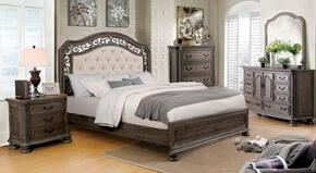 Persephone Collection CM7661EKBEDSET 5 PC Bedroom Set with Eastern King Size Panel Bed + Dresser + Mirror + Chest + Nightstand in Rustic Natural Tone