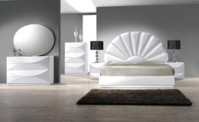 PARIS Series PARIS-QN-4SET PARIS Queen Bed, Night Stand, 8 Drawer Dresser, Oval Shaped Mirror and 6 Drawer Chest in Gloss White Finish