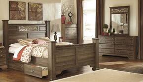 Allymore King Bedroom Set with Poster Bed, Dresser and Mirror in Aged Brown