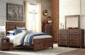 Hammerstead Queen Bedroom Set with Panel Bed, Dresser, Mirror, 2x Nightstands and Chest in Brown