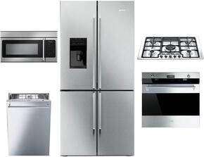 "5-Piece Kitchen Package with FQ75XPEDU 36"" French Door Refrigerator, PGFU30X 30"" Gas Cooktop, SOU330X1 30"" Electric Single Oven, OTR316XU 30"" Microwave and STU8649X Built In Dishwasher in Stainless Steel"