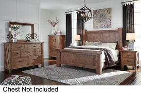 Tamilo California King Bedroom Set with Poster Bed, Dresser, Mirror and Nightstand in Greyish Brown Finish