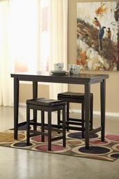 Mia Collection 3-Piece Dining Room Set with Rectangular Counter Table and 2 Barstools in Dark Brown
