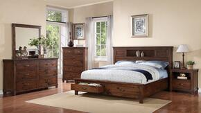 ZRST700Q5PC Restoration 5 PC Bedroom Set with Bed + Dresser + Mirror + Chest + Nightstand in Rustic Walnut