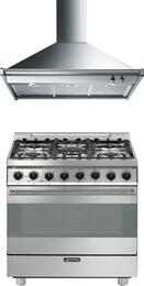"2-Piece Stainless Steel Kitchen Package with C30GGXU1 30"" Freestanding Gas Range and KDU30X 30"" Wall Mount Hood"
