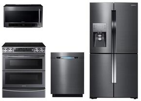 "4 Piece Kitchen Package With NE58K9850WG 30"" Slide In Electric Range, ME21H706MQG Over the Range Microwave Oven, RF23J9011SG 36"" French Door Refrigerator and DW80J7550UG 24"" Built In Dishwasher In Black stainless Steel"