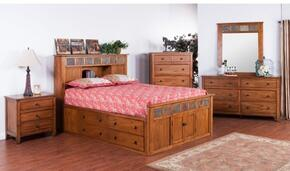 Sedona Collection 2334ROSQBDM2NC 6-Piece Bedroom Set with Storage Queen Bed, Dresser, Mirror,  2 Nightstands and Chest in Rustic Oak Finish