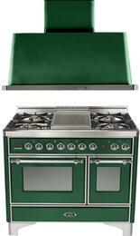 "2-Piece Emerald Green Kitchen Package with UMD100FDMPVSX 40"" Freestanding Dual Fuel Range (Chrome Trim, 4 Burners, Griddle) and UAM100VS 40"" Wall Mount Range Hood"