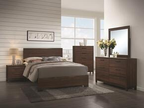 Edmonton 204351Q Queen Bed, Night stand, Dresser and Mirror in Rustic Tobacco & Dark Bronze Finish