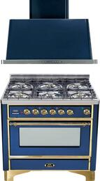 "2-Piece Midnight Blue Kitchen Package with UM906DVGGBL 36"" Freestanding Gas Range (Brass Trim, 6 Burners, Timer) and UAM90BL 36"" Wall Mount Range Hood"