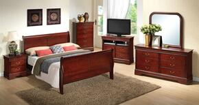 G3100AQBSET 6 PC Bedroom Set with Queen Size Sleigh Bed + Dresser + Mirror + Chest + Nightstand + Media Chest in Cherry Finish