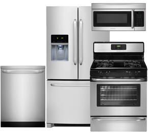 "4-Piece Stainless Steel Kitchen Package with FFHB2740PS 36"" French Door Refrigerator, FFGF3053LS 30"" Freestanding Gas Range, FFID2423RS 24"" Full Console Dishwasher and FFMV164LS 30"" Over the Range Microwave"